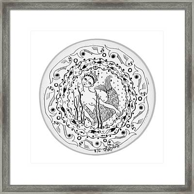 Mermaid In Black And White Round Circle With Water Fish Tail Face Hands  Framed Print