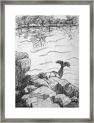 Framed Print featuring the painting Mermaid On The Rocks by Gretchen Allen