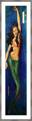 Mermaid Reach Framed Print by Abraham Gonzales