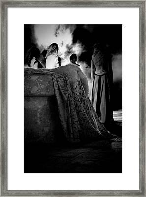 Merry Meet Black And White Framed Print
