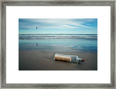 Message In Bottle Framed Print by Elvira Boix Photography