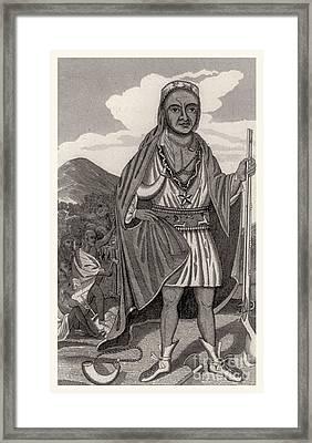 Metacomet Of Pokanoket, Wampanoag Chief Framed Print