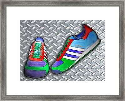 Metal Grate Sport Shoe Framed Print by Elaine Plesser