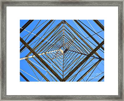 Metal Structure Of Communications Tower Framed Print by David Buffington