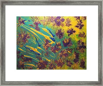 Metallic Waterlilies Framed Print by Sharon  De Vore