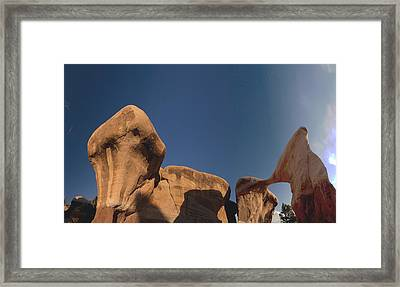 Framed Print featuring the photograph Metate Arch And Hoodoos  by Gregory Scott