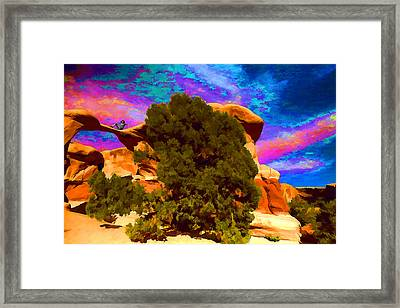 Framed Print featuring the photograph Metate Arch Dream by Gregory Scott