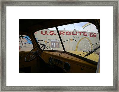 Meteor Citys Fence Map Of Old Route 66 Framed Print