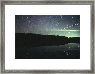 Meteor Over Lake Framed Print