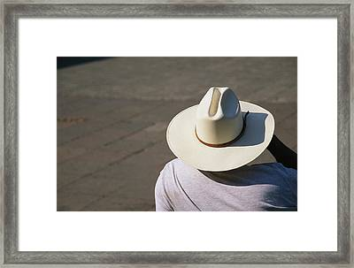 Mexican Man Wearing A Cowboy Hat Framed Print by Gina Martin