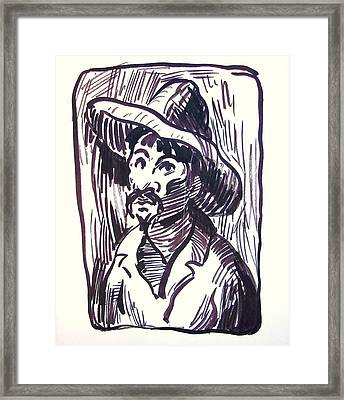 Mexican Man With Hat Framed Print