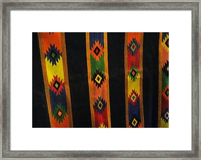 Mexican Throw Rug Colorful Framed Print by Unique Consignment