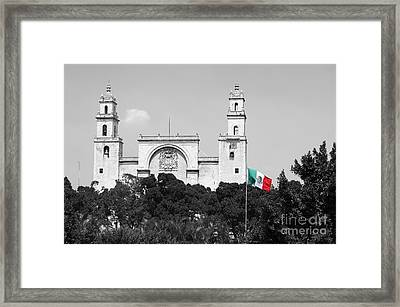 Framed Print featuring the photograph Mexico Flag On Merida Cathedral San Ildefonso Town Square Color Splash Black And White by Shawn O'Brien