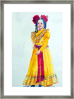 Mexico Srta In Yellow Framed Print by Estela Robles