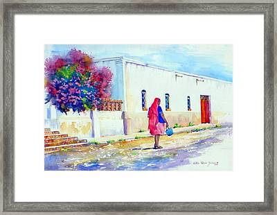 Mexico Woman With Blue Bucket Framed Print by Estela Robles