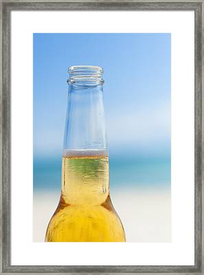 Mexico, Yucatan, Beer Bottle On Beach Framed Print by Tetra Images