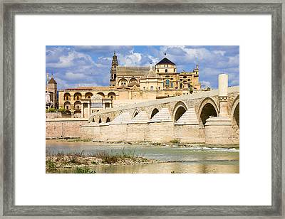 Mezquita Cathedral And Roman Bridge In Cordoba Framed Print