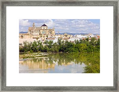 Mezquita Cathedral By The River In Cordoba Framed Print by Artur Bogacki