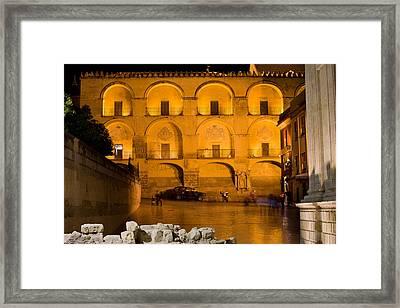 Mezquita Facade At Night Framed Print by Artur Bogacki
