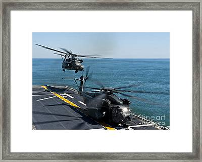 Mh-53e Sea Dragon Helicopters Take Framed Print by Stocktrek Images