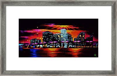Miami By Black Light Framed Print by Thomas Kolendra