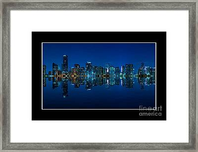 Framed Print featuring the photograph Miami Skyline Night Panorama by Carsten Reisinger