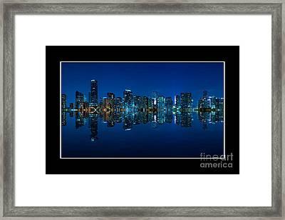 Miami Skyline Night Panorama Framed Print by Carsten Reisinger