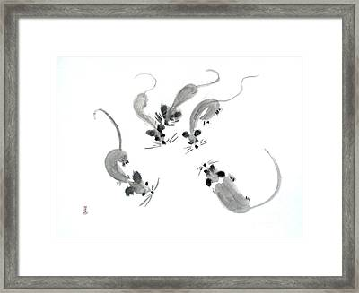Mice - Sumie Style Framed Print