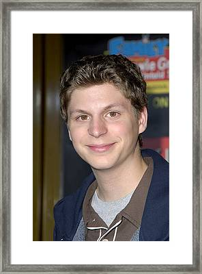 Michael Cera At Arrivals For Family Framed Print