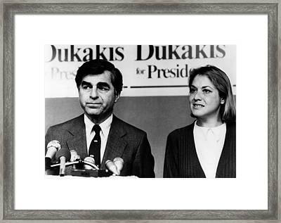 Michael Dukakis, Susan Estrich Campaign Framed Print