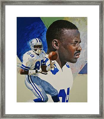 Framed Print featuring the painting Michael Irvin by Cliff Spohn