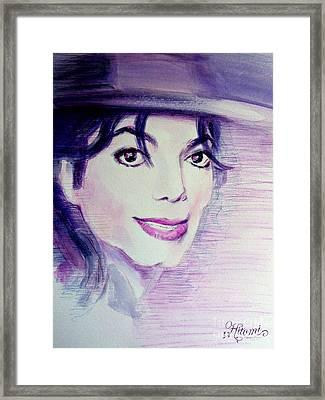 Michael Jackson - Purple Fedora Framed Print