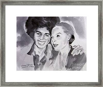 Michael Jackson - Wtih Diana Framed Print by Hitomi Osanai