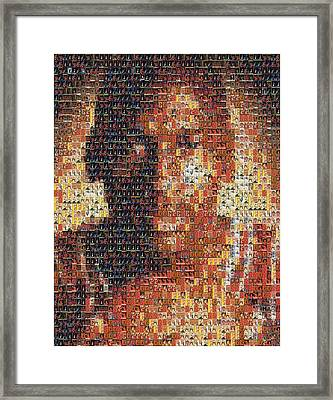 Michael Jordan Card Mosaic 1 Framed Print by Paul Van Scott