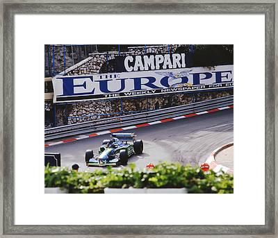 Michael Schumacher After Winning Monaco Gp  Framed Print by John Bowers