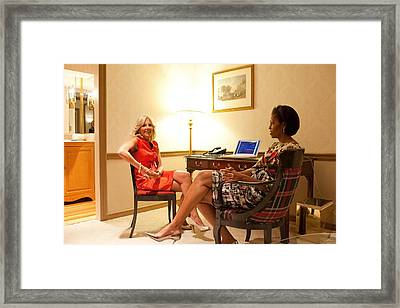 Michelle Obama And Dr. Jill Biden Wait Framed Print by Everett