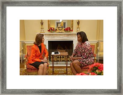 Michelle Obama And Queen Silvia Framed Print by Everett