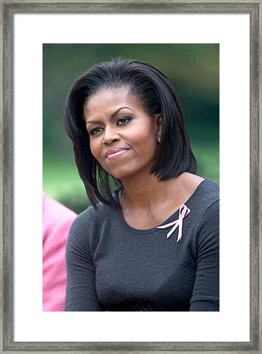 Michelle Obama At The Press Conference Framed Print