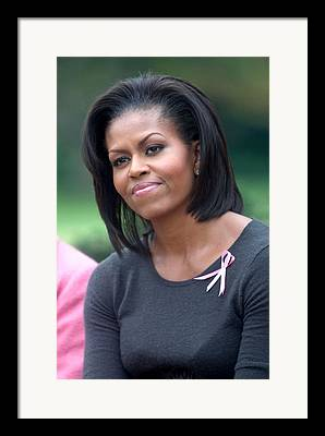 First Lady Michelle Obama Hosts Breast Cancer Awareness Month Ev Framed Prints