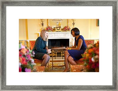 Michelle Obama Greets Mrs. Ada Framed Print by Everett