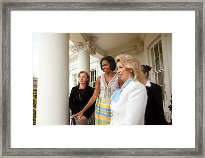 Michelle Obama Hosts First Lady Framed Print by Everett