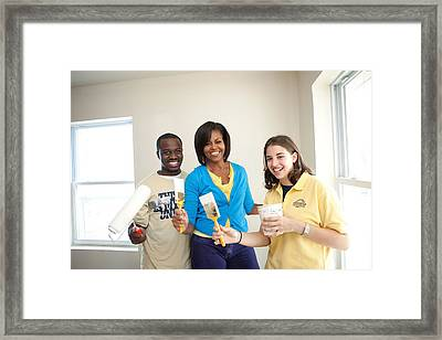 Michelle Obama Joins A United We Serve Framed Print by Everett