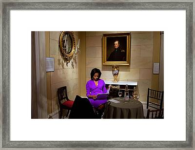 Michelle Obama Prepares Before Speaking Framed Print by Everett
