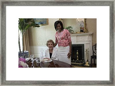 Michelle Obama Visits With Former First Framed Print by Everett