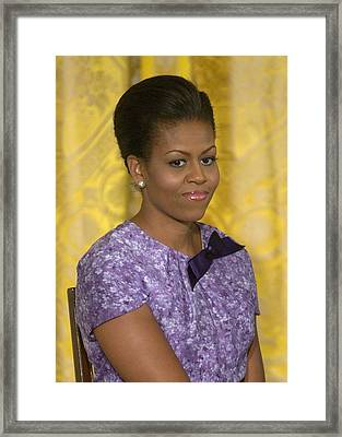 Michelle Obama Wearing An Anne Klein Framed Print