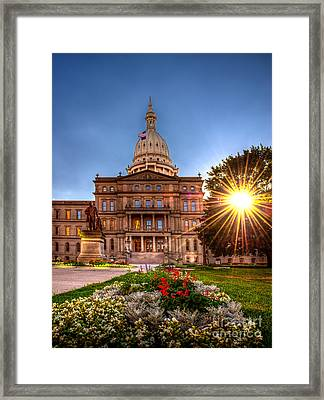 Framed Print featuring the photograph Michigan Capitol - Hdr - 2 by Larry Carr