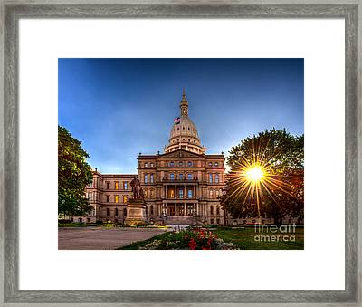 Framed Print featuring the photograph Michigan Capitol - Hdr-1 by Larry Carr