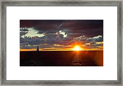 Framed Print featuring the photograph Michigan Sunset by Randall  Cogle