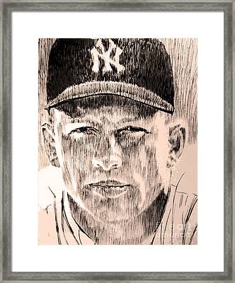 Mickey Mantle Framed Print by Robbi  Musser