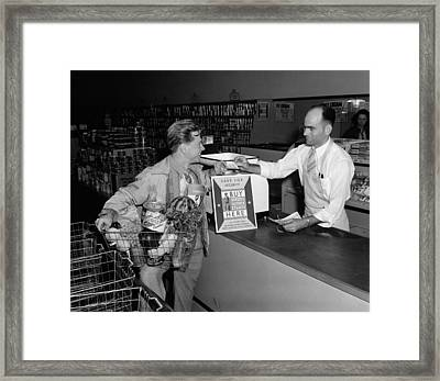 Mickey Rooney Paying For His Groceries Framed Print by Everett